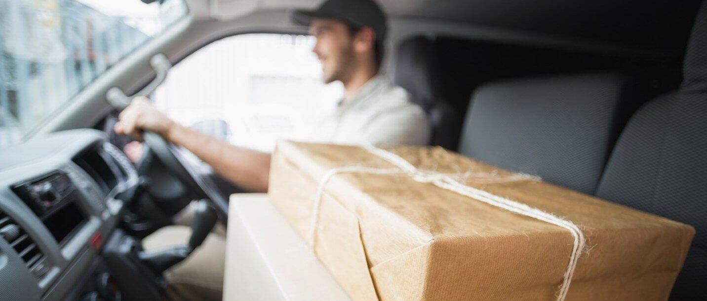 courier van delivering goods